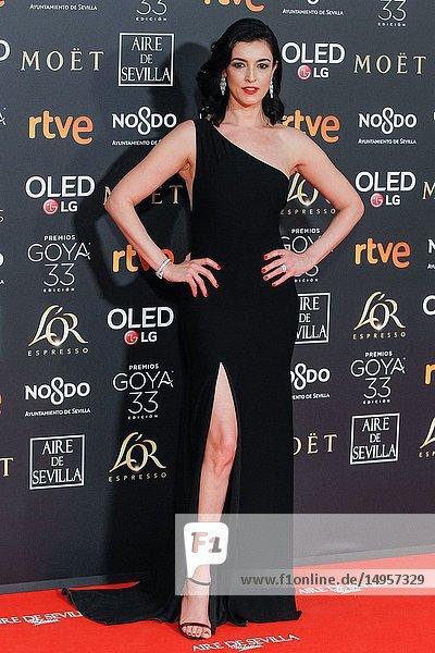 Blanca Romero attends the Spanish Cinema awards Goya 33rd edition at FIBE attends 33rd Goya Cinema Awards 2019 at Palacio de Congresos y Exposiciones FIBES on February 3  2019 in Sevilla  Spain.02/02/2019.