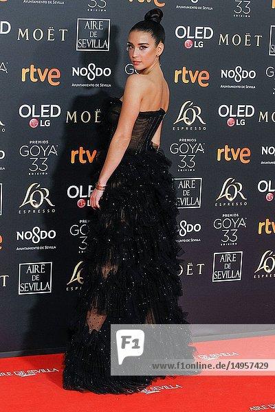 Maria Pedraza attends the Spanish Cinema awards Goya 33rd edition at FIBE attends 33rd Goya Cinema Awards 2019 at Palacio de Congresos y Exposiciones FIBES on February 3  2019 in Sevilla  Spain.02/02/2019.