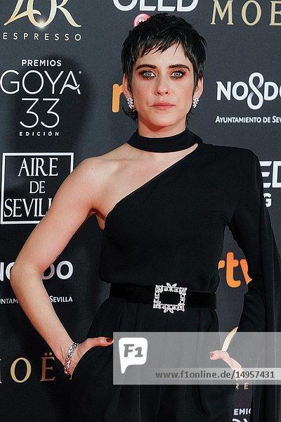 Maria Leon attends the Spanish Cinema awards Goya 33rd edition at FIBE attends 33rd Goya Cinema Awards 2019 at Palacio de Congresos y Exposiciones FIBES on February 3  2019 in Sevilla  Spain.02/02/2019.