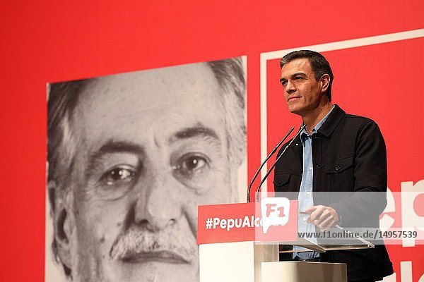 Pedro Sanchez  President of the Government attending the presentation at the La Latina Theater of independent candidate Pepu Hernandez for the Socialist Party (PSOE) to the Mayor's Office of Madrid.