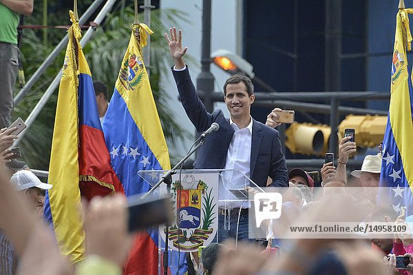 Juan Guaidó  interim president of the Republic of Venezuela  and president of the National Assembly. Protests against the government of Maduro made on January 23  2019.