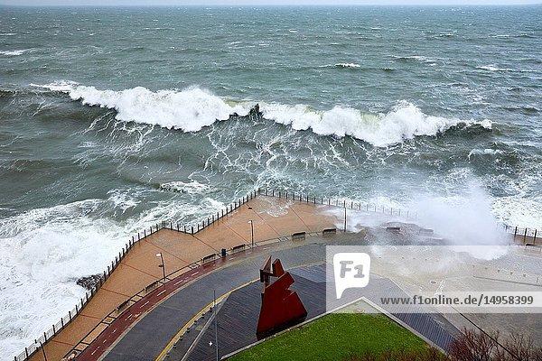 'Construcción Vacia' by Jorge Oteiza  Tempest in the Cantabrian Sea  Waves and Wind  Explosive Cyclogenesis  Paseo Nuevo  Donostia  San Sebastian  Gipuzkoa  Basque Country  Spain