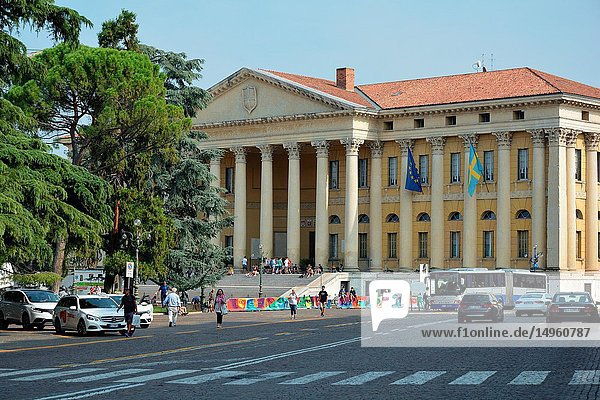 Palazzo Barbieri in the neoclassical style at the Piazza Bra is seat of the Municipality of Verona - Italy.