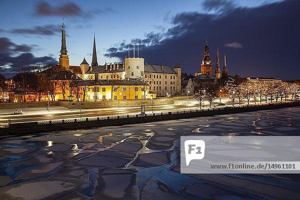 Winter dawn in Riga old town  Latvia.