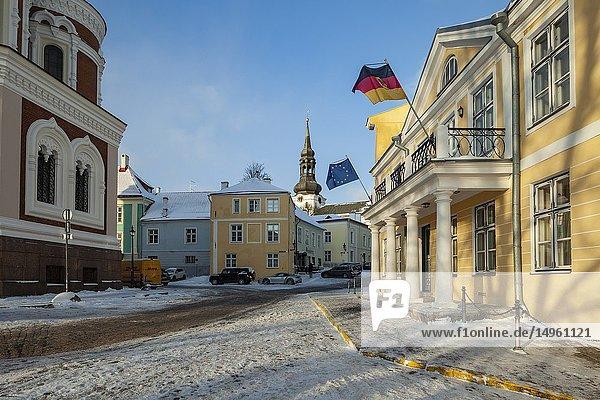 Winter day in Tallinn old town  Estonia.