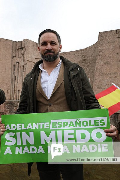 Santiago Abascal  president of the party VOX seen atteding the manifestation of this Sunday called by PP and Ciudadanos has been held in the Plaza de Colón in Madrid  where more than 20 000 people have attended.