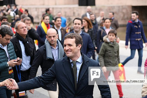 Pablo Casado  president of the party Partido Popular (PP) seen attending the manifestation of this Sunday called by PP and Ciudadanos has been held in the Plaza de Colón in Madrid  where more than 20 000 people have attended.