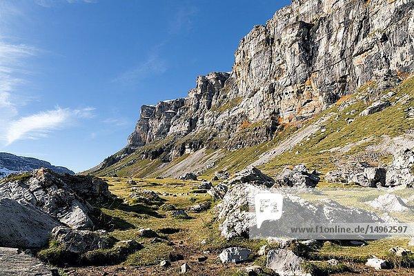 The Fracuata hills in Pyrenees. Ordesa National Park. Huesca. Aragon. Spain. Europe.