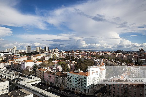 The Areeiro area of Lisbon  Portugal  seen from above.