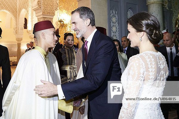 King Felipe VI of Spain  Queen Letizia of Spain  Mohammed VI of Morocco  Moulay Hassan  Princess Lalla Meryem of Morocco  Princess Lalla Hasna of Morocco  Princess Lalla Asma of Morocco attends a Gala Dinner at Royal Palace on February 13  2019 in Rabat  Morocco..The Spanish Royals are on a two day visit to Morocco