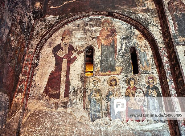 Picture & image of Vardzia medieval cave Church of the Dormition interior secco paintings  part of the cave city and monastery of Vardzia  Erusheti Mountain  southern Georgia (country).