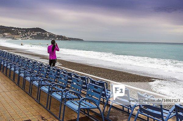 France  Alpes-Maritimes (06)  Nice. Promenade des anglais. The famous blue chairs of the promenade des anglais