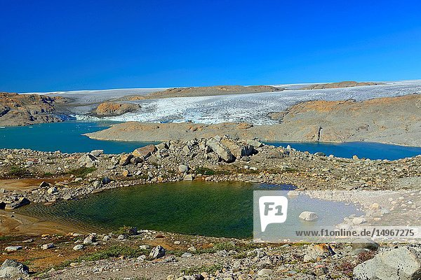 Glacier  fjord and lakes near Fletanes (Qaleragdlit) Bay (Greenland)