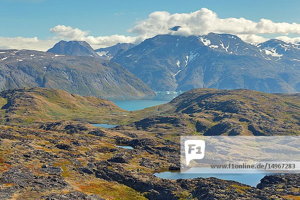 Mountains and lakes in southern Greenland