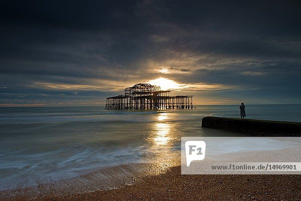 West Pier at sunset  Brighton  Hove  East Sussex  England  Uk  Gb.
