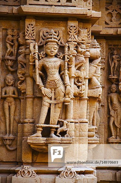 Beautifully carved idols  Jain Temple  situated in the fort complex  Jaisalmer  Rajasthan  India.