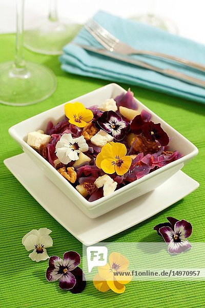 Red cabbage salad 'four seasons'.