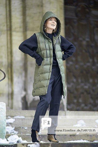 Fashionable German blogger woman  in Munich  Germany