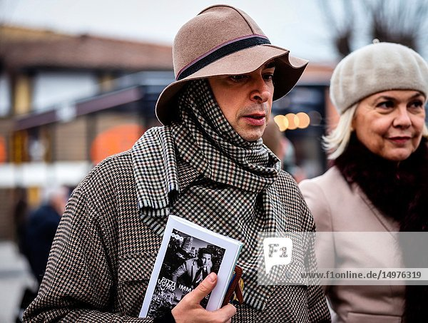 FLORENCE  Italy- January 8 2019: Men on the street during the Pitti 95.