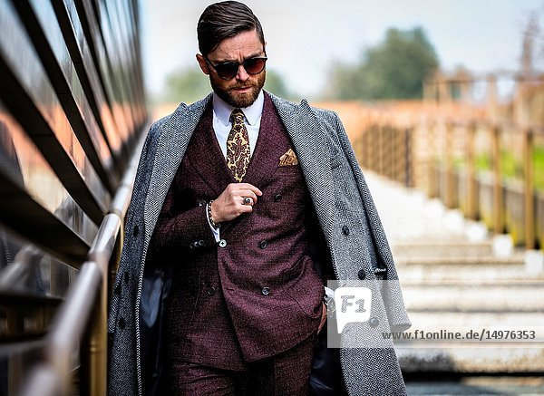 FLORENCE,  Italy- January 9 2019: Niccolo' Cesari on the street during the Pitti 95.