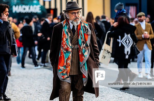 FLORENCE,  Italy- January 9 2019: Gianni Fontana on the street during the Pitti 95.
