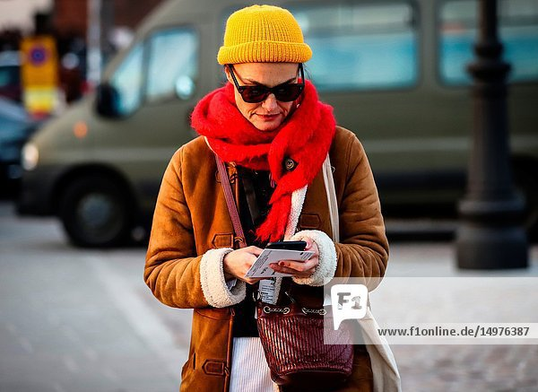 FLORENCE  Italy- January 9 2019: Women on the street during the Pitti 95.