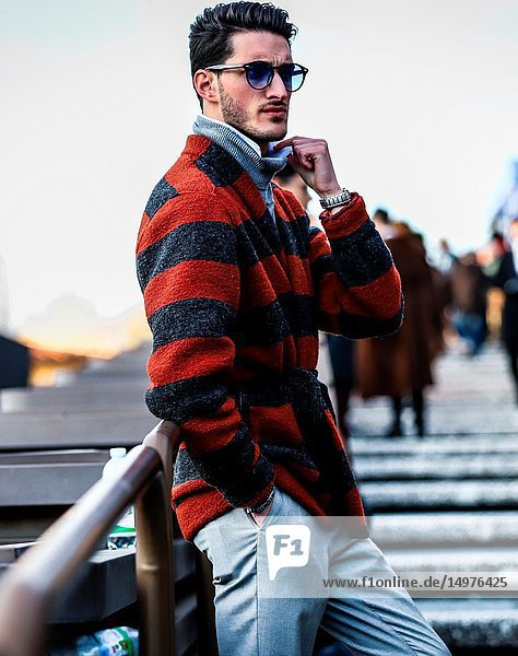 FLORENCE  Italy- January 10 2019: Nicola Cappiello on the street during the Pitti 95.