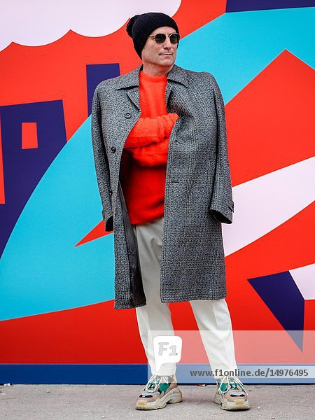 FLORENCE,  Italy- January 8 2019: Moreno Sargentoni on the street during the Pitti 95.