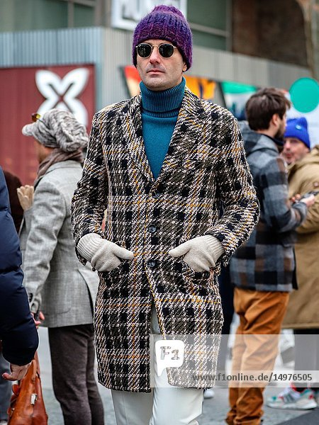 FLORENCE,  Italy- January 8 2019: Men on the street during the Pitti 95.