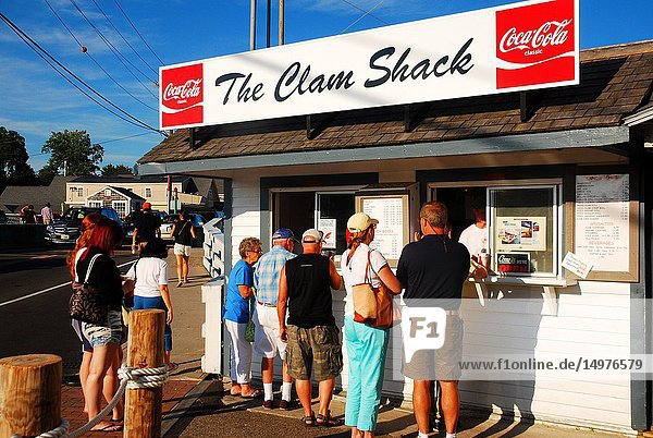 A small crowd seeks the freshest seafood at a clam shack on the Maine coast.