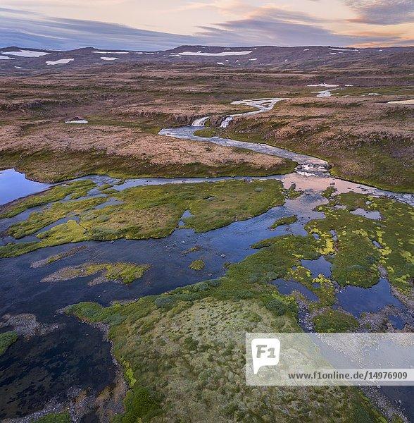 Dynjandi waterfalls area  Iceland.