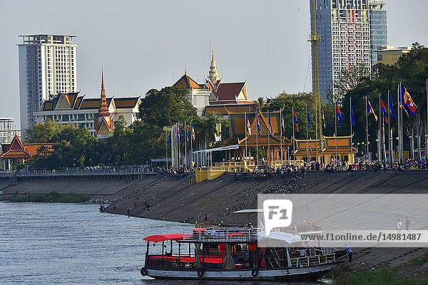 Sisowath quay and the Tonle Sap river on Phnom Penh Cambodia South east Asia.