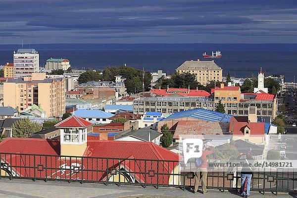 Chile  Magallanes  Punta Arenas  skyline  Strait of Magellan .
