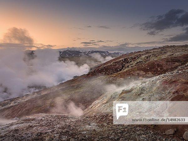 Geothermal area near The Hverahlidarvirkjun Power Plant  Hellisheidi  Iceland.