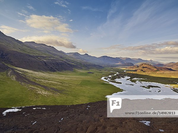Enormous landslide on Fagraskogarfjall mountain in Hitardalur  Western  Iceland.