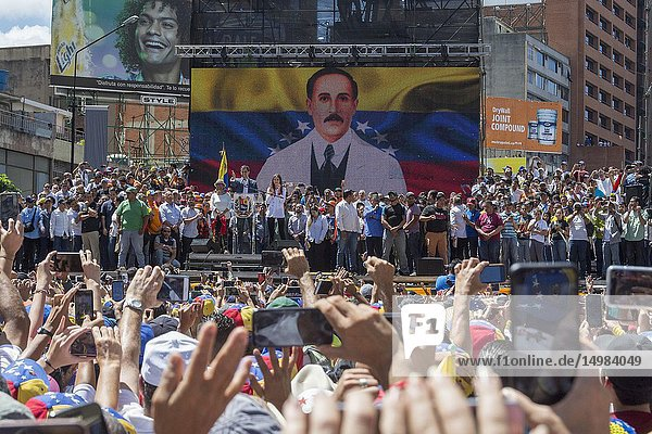 Juan Guaidó  interim president of the Republic of Venezuela  speaks at the concentration. March and rally called for this Tuesday  February 12  by Juan Guaidó  president of the National Assembly sworn in as Acting President of Venezuela with the purpose of encouraging the Armed Forces to allow the entry of humanitarian aid to Venezuela.