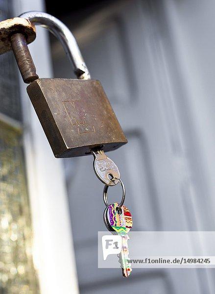 Padlock with keys. Castellon  Spain.