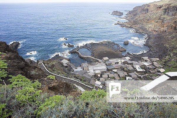 Aerial view over Pozo de las Calcosas  old village in El Hierro Canary islands Spain.