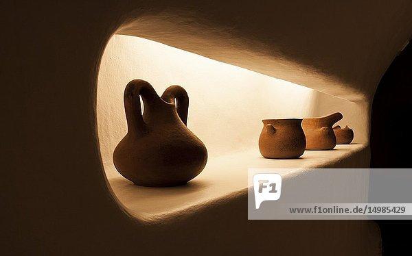 Interior of the balustrade cafe designed and designed by César Manrique. Mirador del Rio,  Lanzarote. Spain.