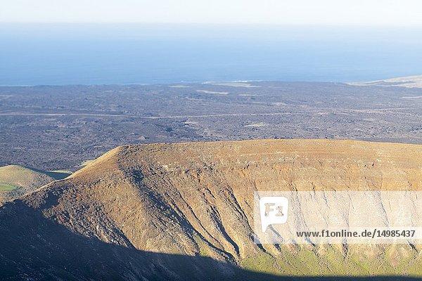 Wonderful aerial views from the white caldera. Timanfaya  Lanzarote. Spain.