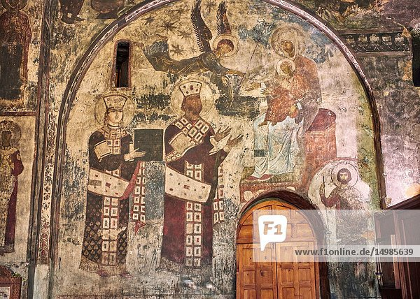 Picture & image of Vardzia medieval cave Church of the Dormition interior secco paintings of Queen Tamar & Giorgi III  part of the cave city and monastery of Vardzia  Erusheti Mountain  southern Georgia (country).
