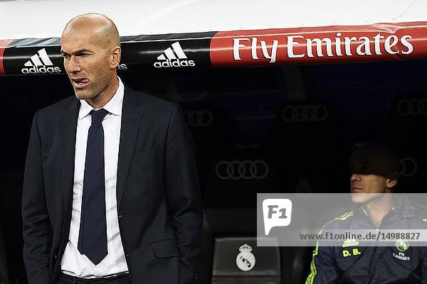 Zinedine Zidane (coach  Real Madrid F.C.) during his first match as Real Madrid's coach during La Liga match between Real Madrid and Deportivo de La Coruna at Santiago Bernabeu on January 9  2016 in Madrid