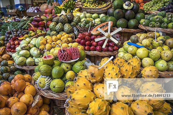 Fruits stall at the market hall Mercado dos Lavradores  Funchal  Madeira  Portugal  Europe.