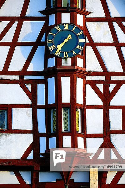 Half-timbered building of Town Hall  close-up of tower clock  Rathausplatz - Town hall square  Forchheim  Franconian Switzerland  Upper Franconia  Franconia  Bavaria  Germany  Europe