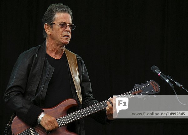 UK Kent -- 28 Oct 2013 -- File photo dated 02 July 2011 of the Lou Reed 1942-2013 performing at the Hop Farm Music Festival on Saturday the 2nd of July 2011. The famous singer and guitarist died on the 27 October 2013 of complications after a liver transplant at the age of 71. His music was legendary and groundbreaking and was the leading light in the Velvet Underground group and his best known song is 'Walk on the Wild Side' -- Picture by Lightroom Photos.