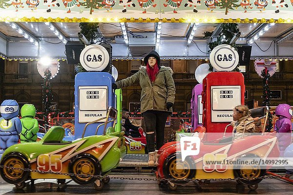 Christmas Market of George Square,  Glasgow,  Lowands,  United Kingdom.