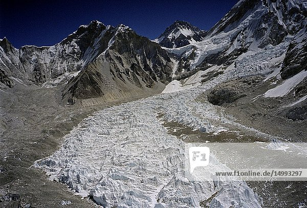 NEPAL Khumbu Glacier -- 16 Apr 2005 -- Aerial image of the ice pinnacles at the top part of the Khumbu Glacier underneath Mount Everest in Khumbu Himalaya in the Everest region of Nepal. This glacier like many others in the Great Himalayan Range is slowly melting away due to climate change -- Picture by Jonathan Mitchell.