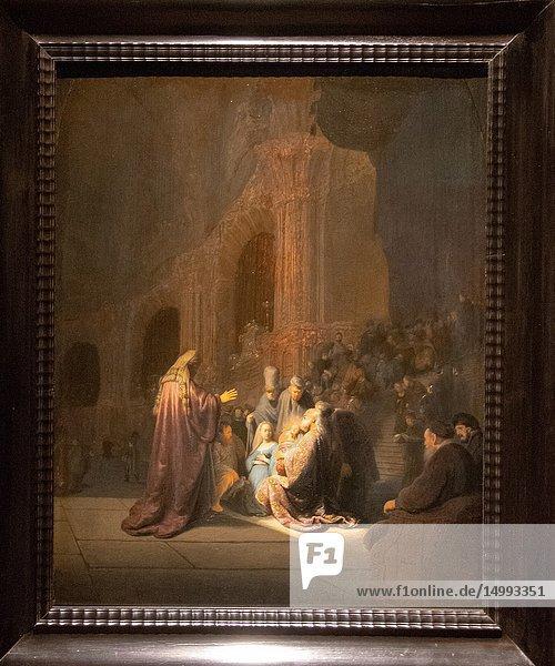 Simeon's song of praise by painter Rembrandt van Rijn.