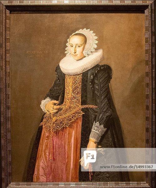Portrait of Aletta Hanemans  by painter Frans Hals.