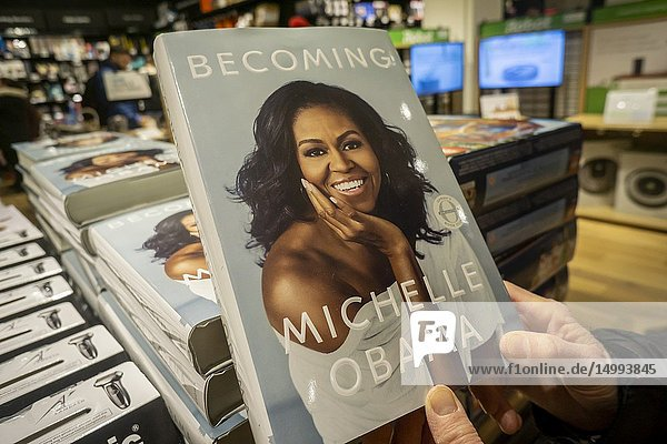 Copies of former Firsts Lady Michelle Obama's book 'Becoming' in an Amazon store in New York on Saturday  December 1  2018. Obama's book has sold over 2 million copies in all formats during its forst 15 days making it the best selling book of 2018.